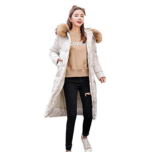 Yogogo Grande Taille Manteau  Capuche Femme Long Hiver Chaud Chic Doudoune Pais Parka  Capuche Longue Zipper Blouson Veste Blanc