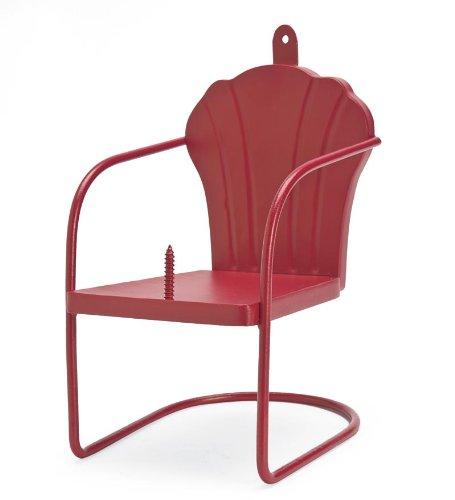 Plow & Hearth Red Retro Lawn Chair Squirrel Feeder