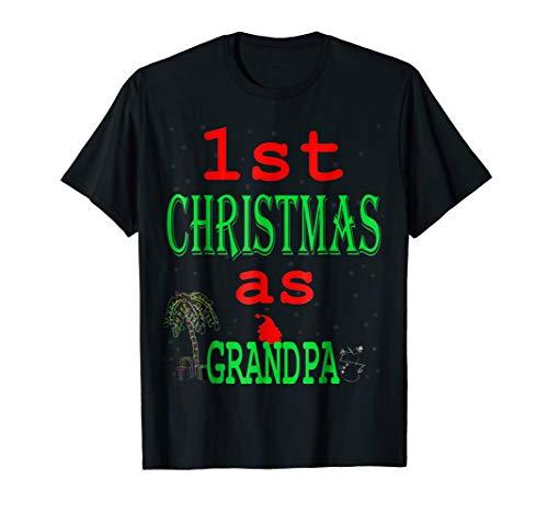 My1st Christmas As Grandpa Xmas Gift New Grampa Shirt Pops -