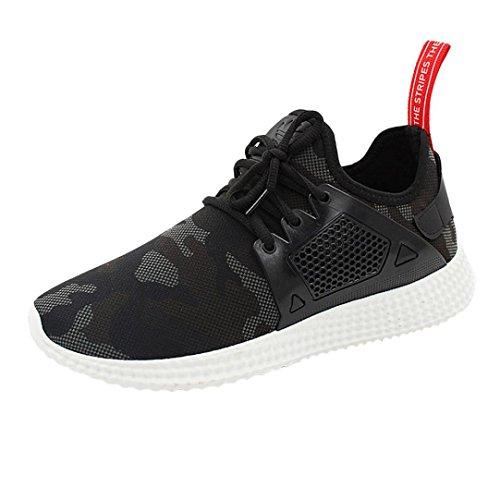 Sky Zapatos de Deportes de Los Hombres de Malla Zapatos Deportivos Zapatillas de Deporte Straps Sports Running Sneakers Camouflage Shoes (41, Negro)