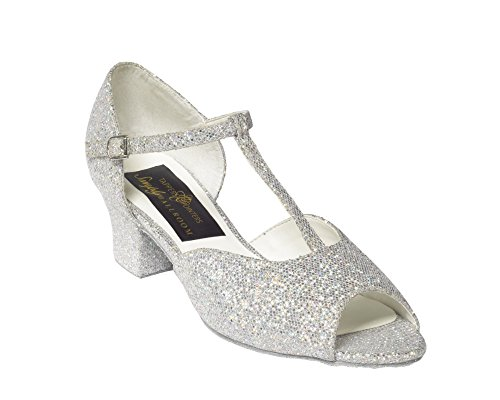 11 Ballroom Hologram Girls to Shoes Glitter White large small 5 amp; 5 Silver XXFp0
