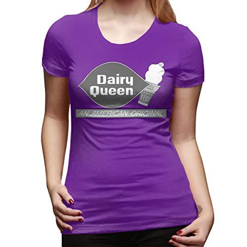 - CSDQC Womens Customized Top Tee Dairy Queen Logo DQ Logo Short Sleeve Classic T-Shirts Purple L