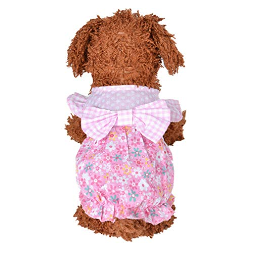 Jim-Hugh Clothing Floral Coat Cotton Dog Dresses Summer Thin Beige Pink Puppy Jacket Vest Cute Sweater Clothes Outdoor