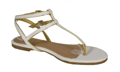 Sandalo Piatto Donna Gladiatore A Quadri In Oro Con Cinturino In Pelle Doppia Gladiatore In Similpelle Bianca