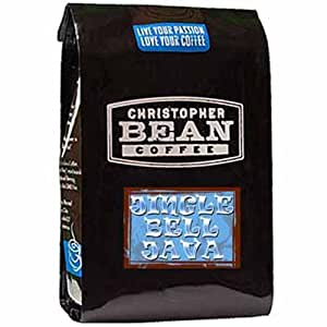 Christopher Bean Coffee Flavored Decaffeinated Ground Coffee, Jingle Bell Java, 12 Ounce