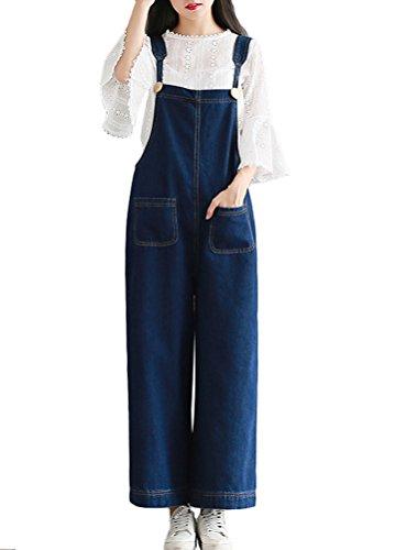 MatchLife Femmes Casual Jeans Salopette Pantalon Style4 Bleu Fonc