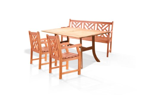 VIFAH V187SET1 Outdoor Wood 4-Piece Dining Set, Natural Wood Finish, 59 by 36 by 29-Inch