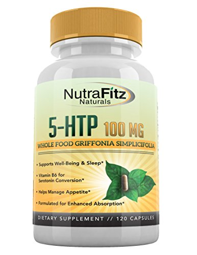 5 HTP 100mg Supplement, Plus B6-5HTP Organic Whole Food - Natural Sleep Aid, Mood Support, Anxiety Relief, Calm, Appetite Control - Best Serotonin Booster - Non-GMO, 120 Vegetarian Capsules