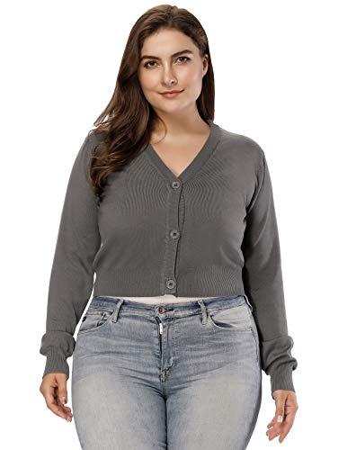 Hanna Nikole Women's Solid Cotton Open Front Cropped Bolero Shrug Cardigan Grey Size 1X