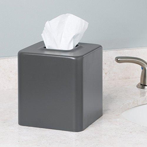 Mdesign Facial Tissue Box Cover Holder For Bathroom Vanity Countertops Matte Slate Home Garden