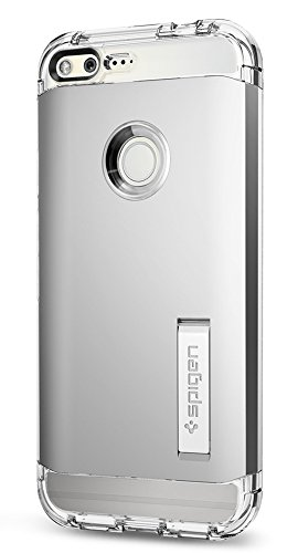 Spigen Tough Armor Google Pixel XL Case with Kickstand and Heavy Duty Air Cushion Technology Protection for Google Pixel XL 2016 - Satin Silver