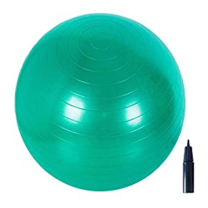 Adeco Static Strength Exercise Stability Ball with Pump, Blue Purple Green Color Available