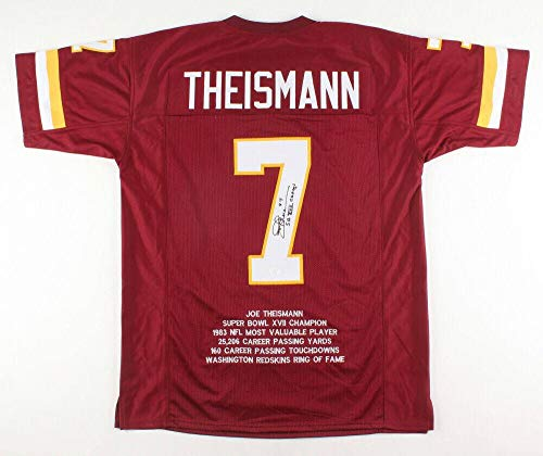 Autographed Joe Theismann Jersey - Pro Style Stat Insc & Beckett Coa - Beckett Authentication - Autographed NFL Jerseys (Theismann Jersey)