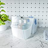 madesmart Small Soft Grip Tote - Frost, Grey | BATH COLLECTION | 2-Compartments | Thick Handle for Carry-comfort | Multi-use Storage for Bath and Beauty Accessories | BPA-Free