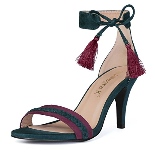 Allegra K Women's Ankle Tie Blackish Green Sandals - 9 M US -