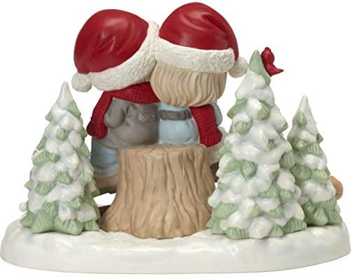 Precious Moments Being Together No Matter The Weather Winter Couple On Stump Figurine, Multicolor