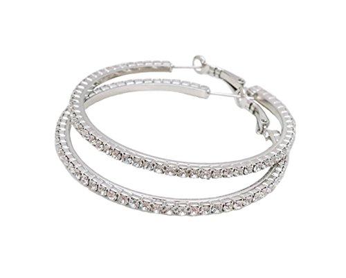 STAYJOY Crystal Elements Diamond Fashion Big Hoop Earrings with Omega Backs (2-inch / 50-mm, SILVER) ()
