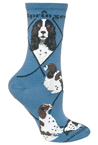 English Springer Spaniel Blue Ultra Lightweight Cotton Crew Socks - Made in USA