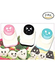 OAIMYY Smiley Face Expression Nori Seaweed Embossing Mold Device - Onigiri Sushi Decoration Tools (Pink+Black+Blue)