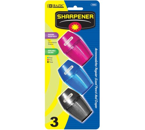 BAZIC Single Hole Sharpener w/ Receptacle (3/pack) by Bazic