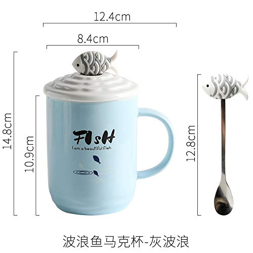 Personality Trend Mug With Lid Spoon Cartoon Cup Ceramic Cup Three-Dimensional Fish Cup Cover - Gray Wave ()