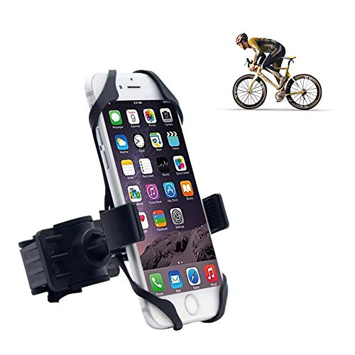 Universal Bike Phone Mount, Adjustable Cell Phone Bicycle Rack Handlebar & Motorcycle Holder Cradle Compatible with iPhone Android GPS Other Devices, Holds Phones Up to 3.5 Wide