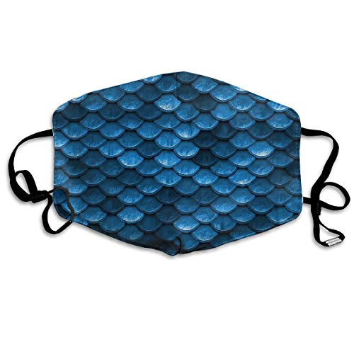 Bahama Sea Blue Mermaid Fish Scales Washable Reusable Safety Mask, Cotton Anti Dust Half Face Mouth Mask for Kids Teens Men Women Lovers Dustproof With Adjustable Ear Loops