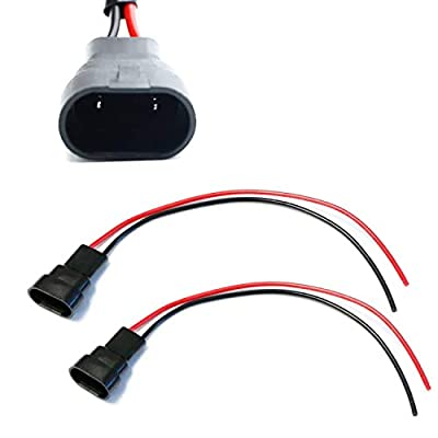 iJDMTOY (2) 9005/9006/H10 Male Adapter Wiring Harness Sockets Wire Compatible With Headlights, Fog Lights Retrofit or Installing Cubic LED Pod Lights, LED Light Bar, LED Work Lamps, etc: Automotive