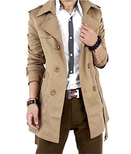 Men's Slim Double Breasted Trench Coat Long