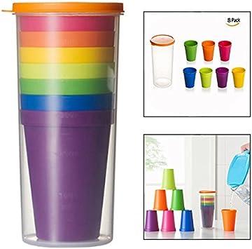 OFKPO 8 Pcs Vasos de Plástico, Tazas de Viaje Portátil y ...