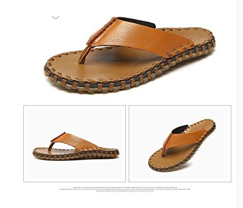 Xing Lin Uomini Sandali Estate Cool Pantofole Vacchetta Uomini Sandali Scarpe Da Spiaggia Flip Piedi Sandali Tendine Fondo Flip-Flop Di Slittamento Light Brown