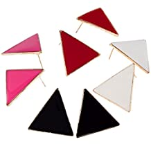 Fantastic Set Kit With 4 Pairs of Eighties Vintage Style Earrings / Ear Studs In Triangles Geometric Shapes And In Black, Red, White And Rose Red By VAGA®