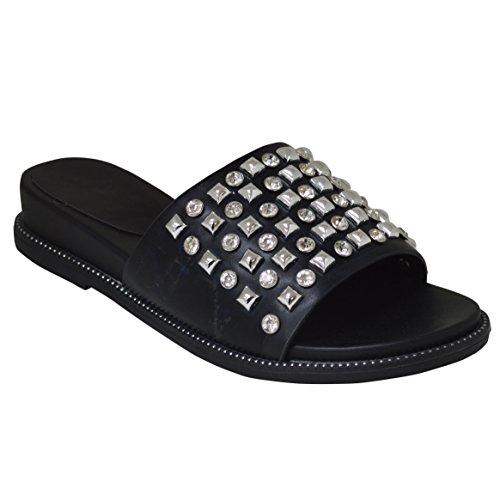 New Womens Summer Slip On Sparkly Diamante Slider Mule Sandal Black Ga4GD