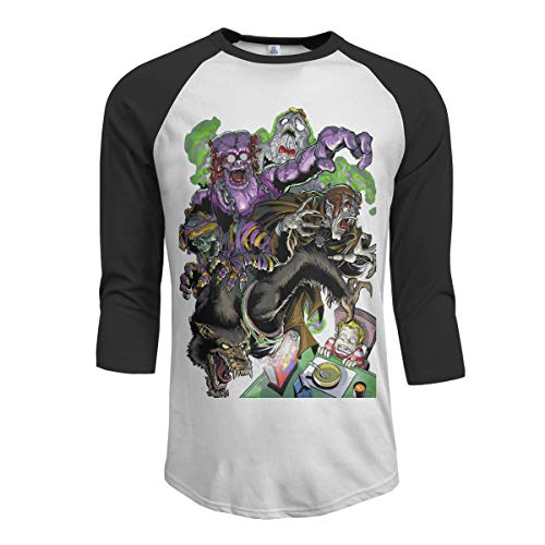Lovevol Monster Cereal Count Chocula Franken Berry Boo Berry Men's Raglan 3/4 Sleeves Baseball T-Shirts Fun and Simple -