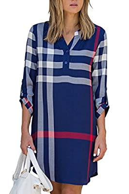 ESONLAR Women Plaid V Neck Roll Up Sleeve Long Blouse High Low Mini Shirt Dress