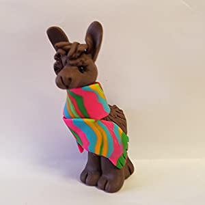 Llama CHRISTMAS ORNAMENT Alpaca Wrapped in Bright Colored Holiday Serape CHOCOLATE BROWN Hand Made Polymer Clay
