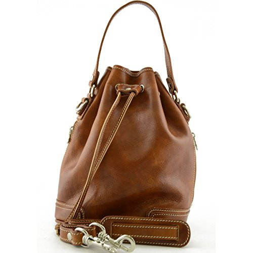 Borsa Donna A Mano In Pelle Colore Cognac - Pelletteria Toscana Made In Italy - Borsa Donna