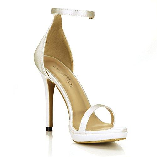 Best 4U® Sandalias de verano para mujer Faux Silk Basic Pumps One Buckle 12CM High Heels Suela de goma para calzado con cremallera Solid Color , Beige , EU38