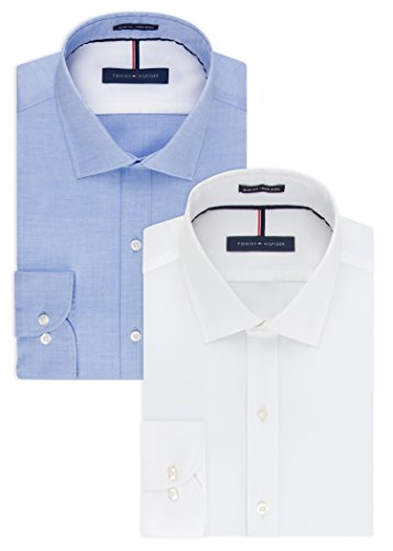 (Tommy Hilfiger Men's Non Iron Slim Fit Solid Spread Collar Dress Shirt, White/Blue, 17.5