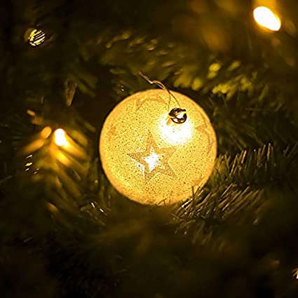 homdc snowflake star elk printing light balls christmas tree hanging wooden ornaments party christmas decorations for - Christmas Light Balls For Trees