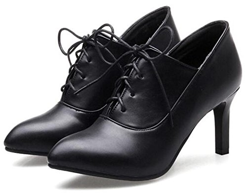 Heel Ankle Women's Black Pointed Booties High Stylish up Stiletto Lace Toe Aisun OCYqBw1xO