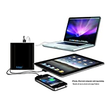 Lizone® Extra Pro 26000mAh Super Capacity Portable External Battery Adapter Charger for Apple MacBook Air, MacBook Pro, MacBook, PowerBook and iBook; HP Compaq Pavilion, Mini, ElifeBook, ProBook,Presario, Envy and G; IBM Lenovo ThinkPad and IdeaPad; USB Port for iPad Air, iPad mini,iPad and iPhone; Samsung Galaxy, Nexus , MOTO, G, LG, HTC and More -Aluminum UniBody, 18 Months Warranty Black 26000mAh