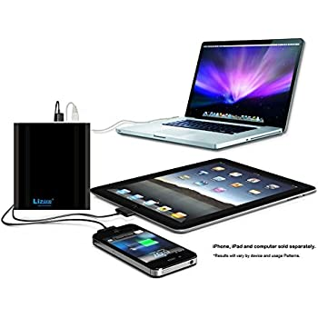Lizone Extra Pro 26000mAh External Battery Charger for Apple MacBook Pro Air...HP and Lenovo...USB Power Bank Charger for Apple iPad iPhone; Samsung MOTO LG HTC... Aluminum UniBody Black 26000mAh