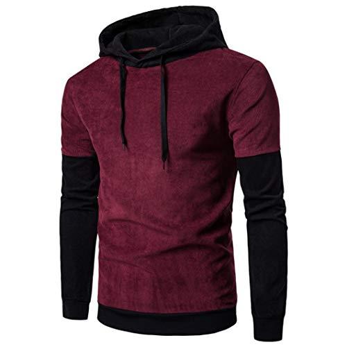 FORUU Men Long Sleeve Hoodie Stitching Coat Jacket Outwear Sport Tops WR XXL ()