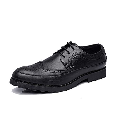 Noir 42 EU SRY-Chaussures de Mode Chaussures de Ville pour Hommes, Simple Affaires, Oxford, Décontracté, Classique, Confortable, antidérapant, Sculpture (Couleur   Noir, Taille   42 EU)