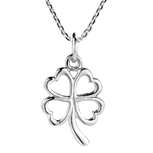 (AeraVida Charmed Four Heart Leaf Clover Sterling Silver Necklace)