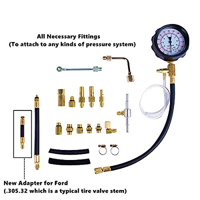 Detool Fuel Pressure Gauge Newest Updated TU-114 Fuel Pressure Tester Kit 0-140Psi Gas Oil Pressure Tools for Cars and Trucks (Ford's Adaptation Updated): Automotive