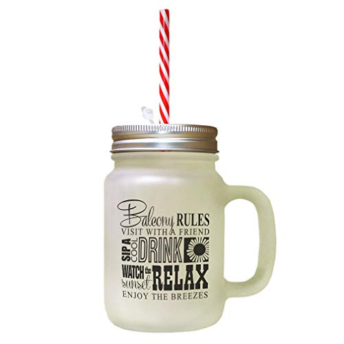 Black Balcony Rules Visit Friend Spit Cool Drink Frosted Glass Mason Jar With Straw