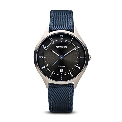 BERING Time 11739-873 Men Titanium Collection Watch with Nylon Strap and scratch resistent sapphire crystal. Designed in - Silver Denmark