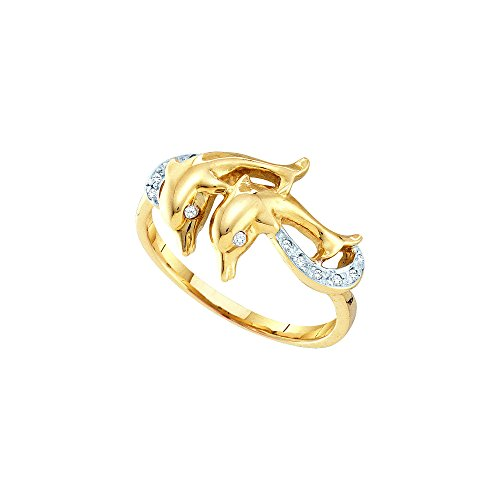 10kt Yellow Gold Womens Round Diamond Double Dolphin Accent Ring 1/20 Cttw by JawaFashion